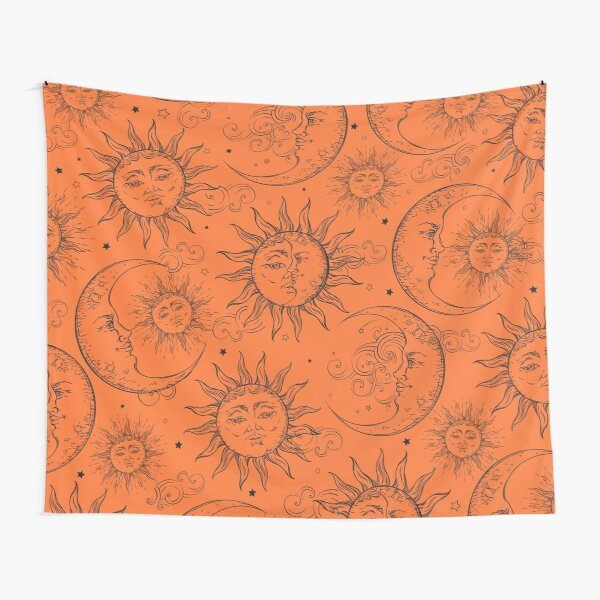 Orange Magic Celestial Sun Moon Stars Tapestry