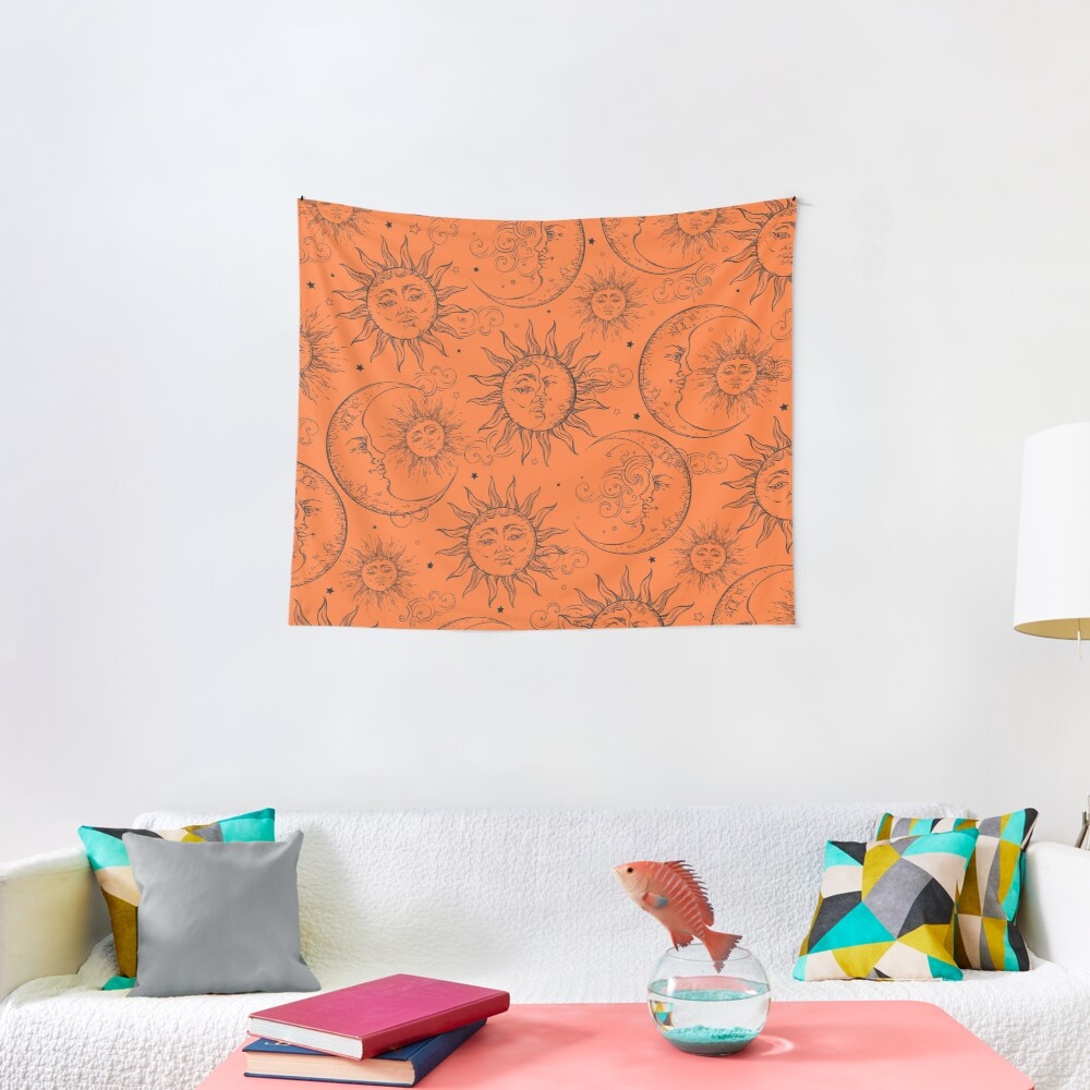 Orange Magic Celestial Sun Moon Stars Tapestry