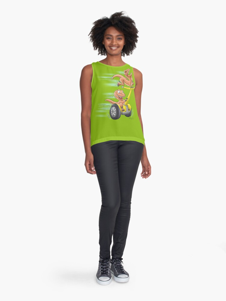 Alternate view of Raptors on a Segway! from Mom Needs a Dinosaur! Book - Green Background Sleeveless Top