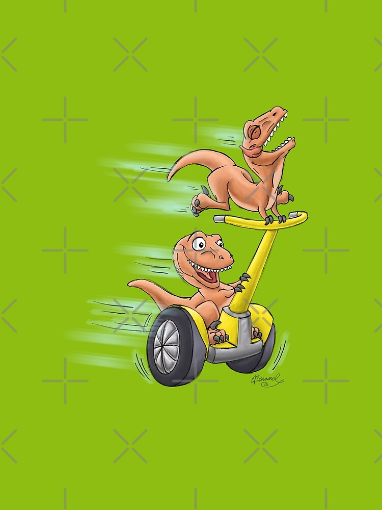 Raptors on a Segway! from Mom Needs a Dinosaur! Book - Green Background by SeabearPress