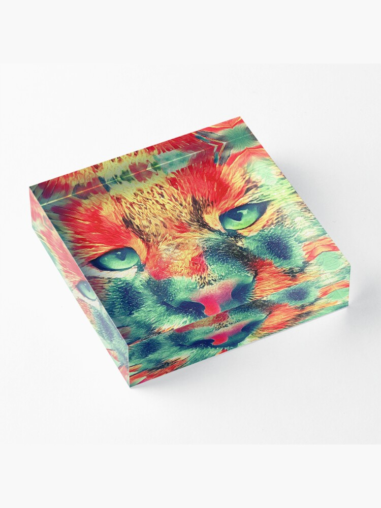 Alternate view of Artificial neural style wild cat Acrylic Block