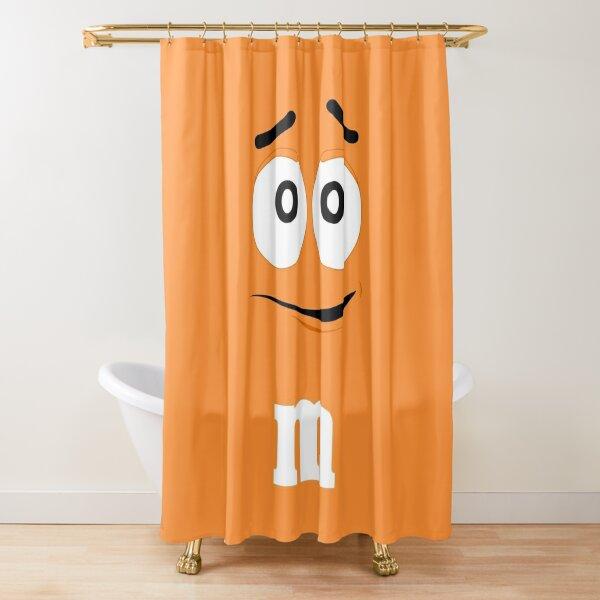 Orange M&M Face Shower Curtain