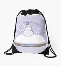 Snowman in Globe Ball Drawstring Bag