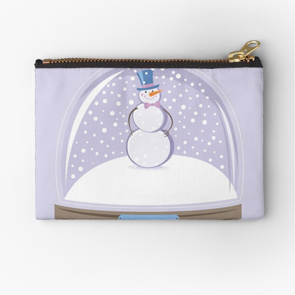 Snowman in Globe Ball Zipper Pouch