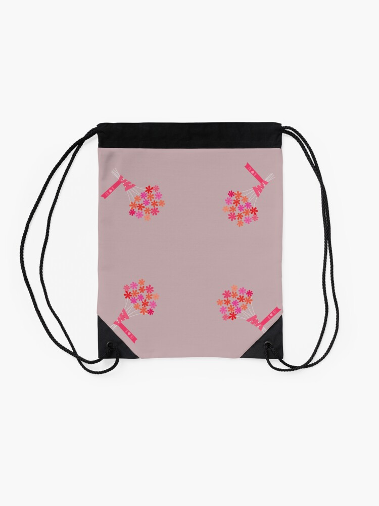 Alternate view of Flowers for You! Drawstring Bag