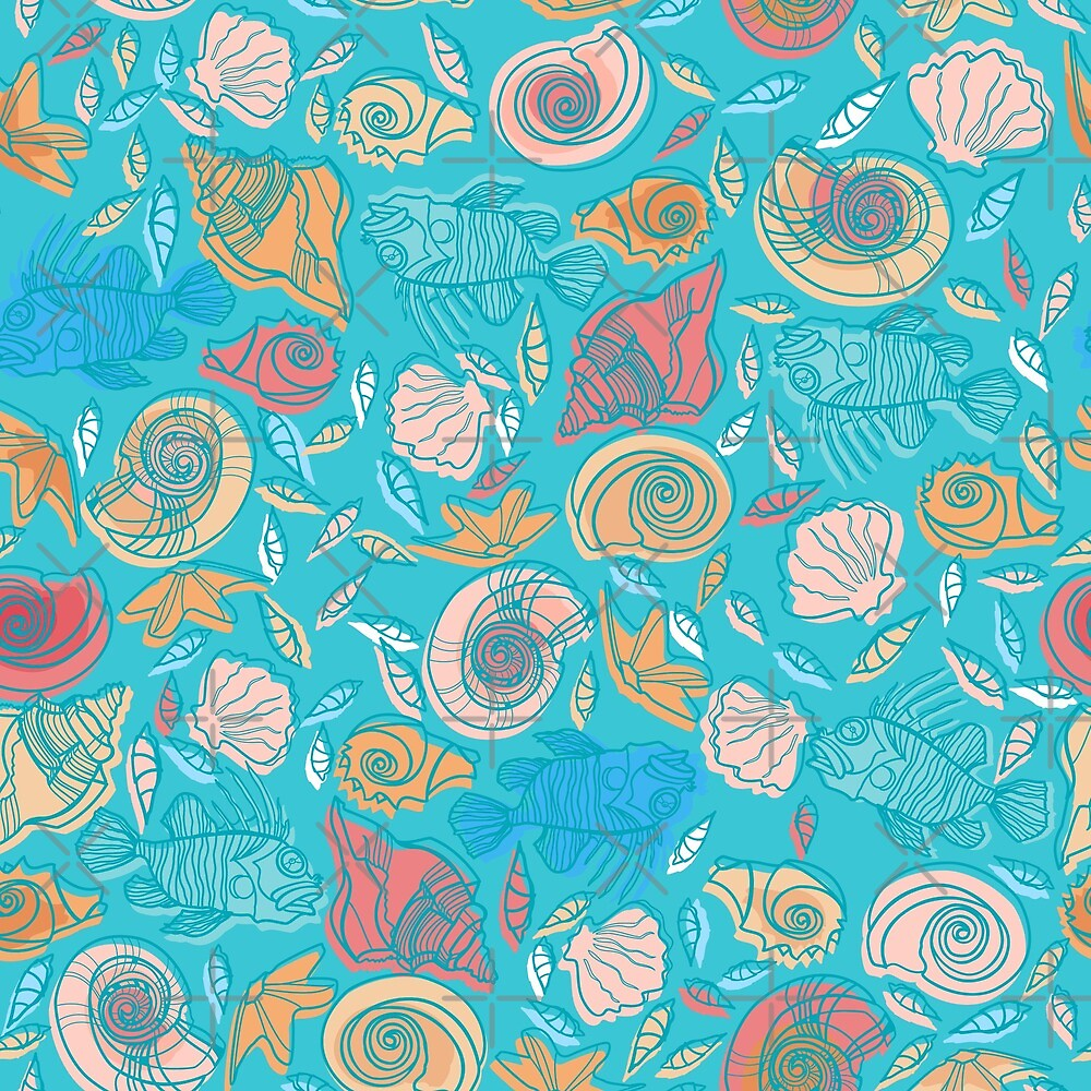 Shells and Fish Pattern by rusanovska