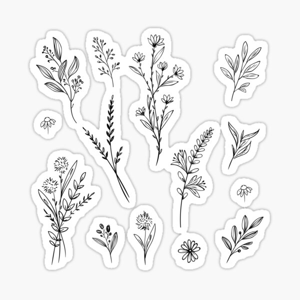 Handdrawn Wildflower Stickers Sticker