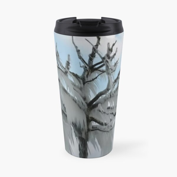 TREE COVERED IN ICE DURING A WINTER STORM-PILLOWS-TOTE BAG-TEE SHIRT- CARD- PICTURE ECT... Travel Mug