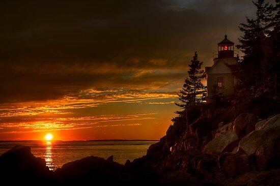 Bass Harbor Head Light House at Sunset by Oscar Gutierrez