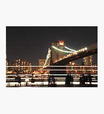 Brooklyn Bridge and Lower Manhattan at Night Photographic Print