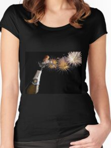 Champagne And Fireworks Celebration Women's Fitted Scoop T-Shirt