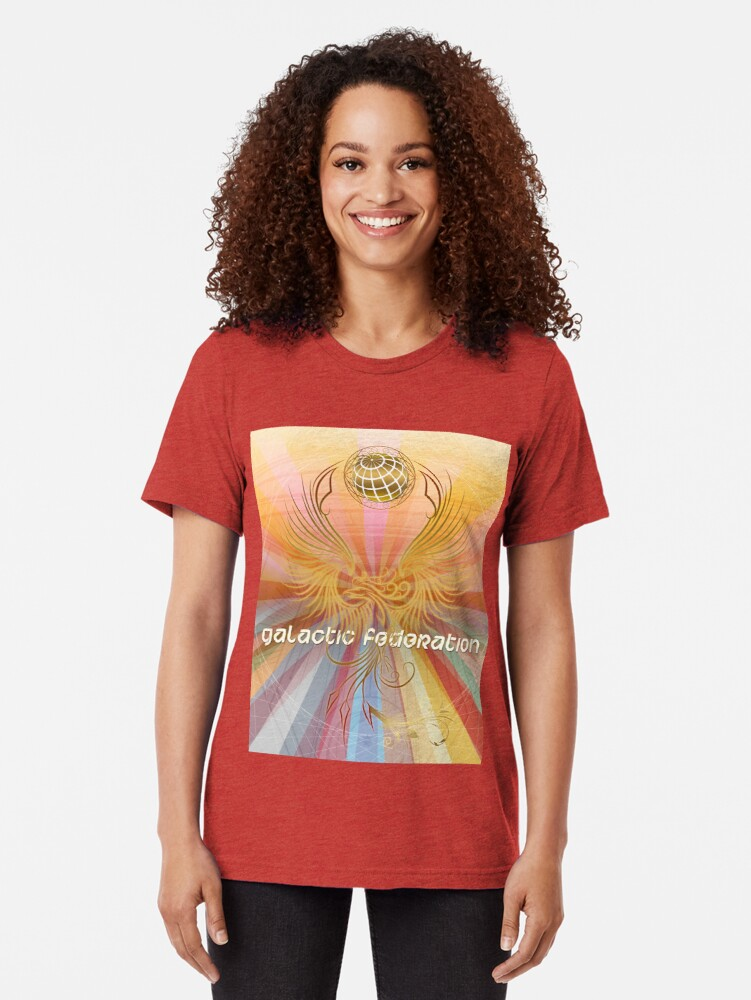 Alternate view of Galactic Federation of Light - The Golden Surrender Tri-blend T-Shirt