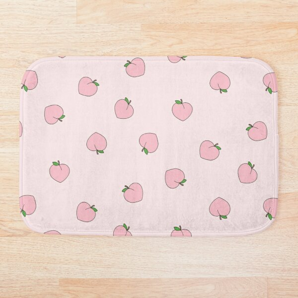 Peach Pattern on Light Pink Bath Mat