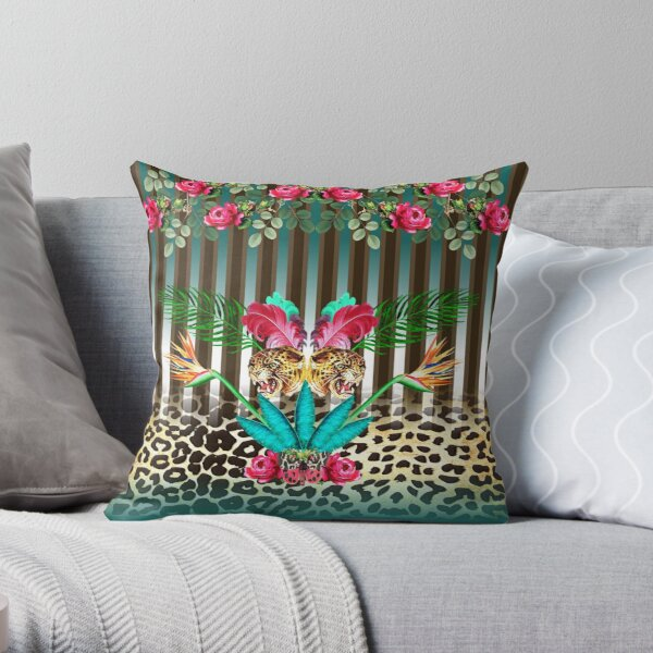 Leopard Print with Stripes Throw Pillow