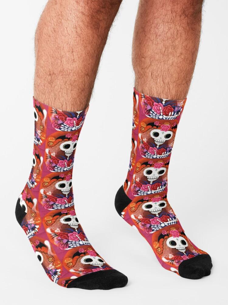 Alternate view of Halloween Skelly Bride Socks