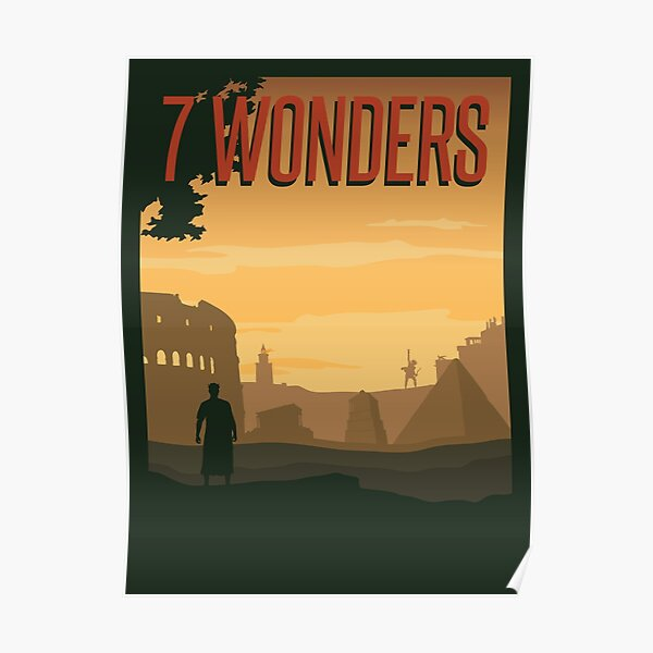7 Wonders Board Game- Minimalist Travel Poster Style - Gaming Art Poster