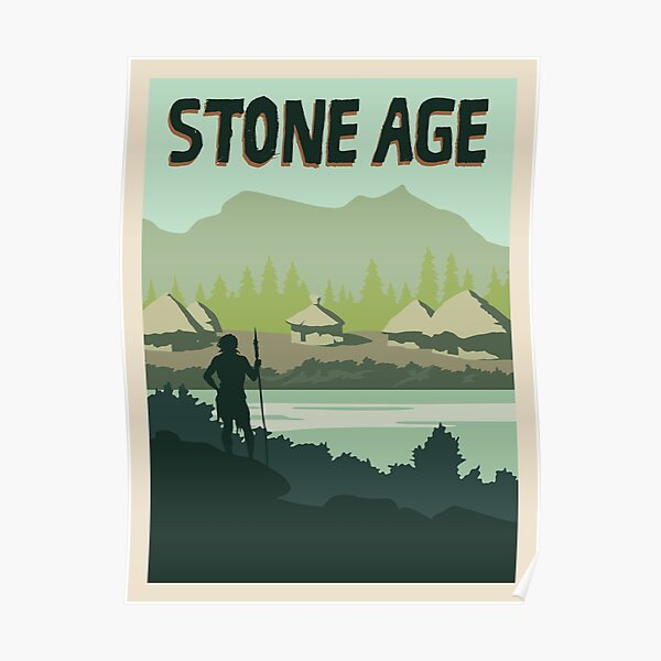 Stone Age Board Game- Minimalist Travel Poster Style - Gaming Art Poster