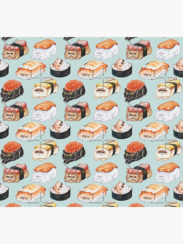 Sushi Persian Cat Watercolor by Huebucket