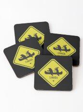 Bear & Moose Novelty Canadian Road Sign Coasters