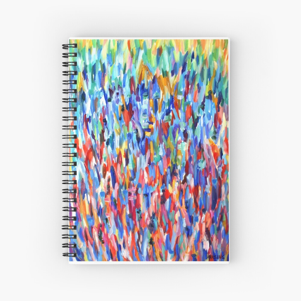 Blue in Bloom. Impressionist organic nature design. From painting by Pamela Parsons Spiral Notebook
