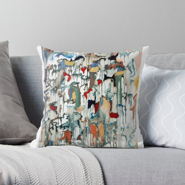 Moondrops, celestial painting with stars, hearts, hopes and dreams. Throw Pillow