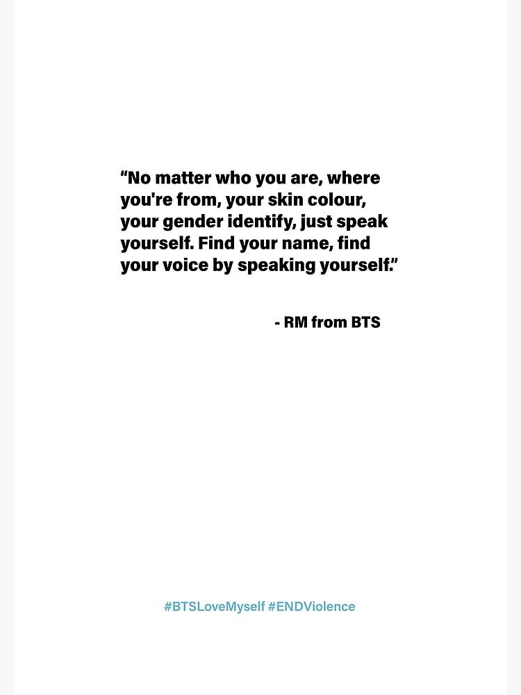 Bts Rm Unicef Speech Greeting Card By Sandravictorelo Redbubble