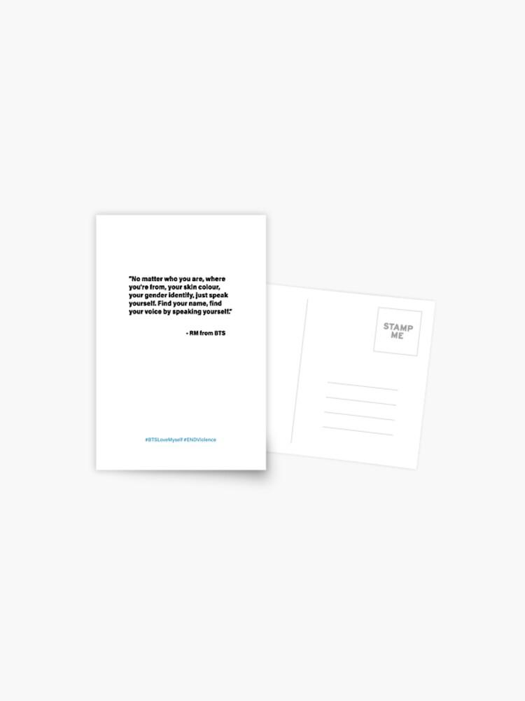 Bts Rm Unicef Speech Postcard By Sandravictorelo Redbubble