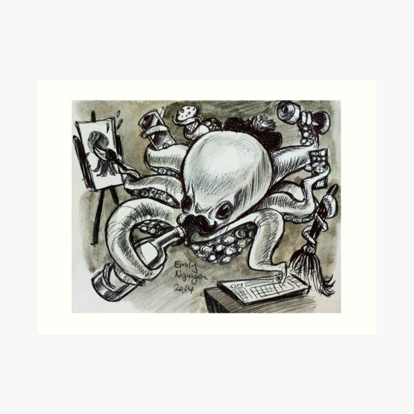 Multitasking Octopus Art Print