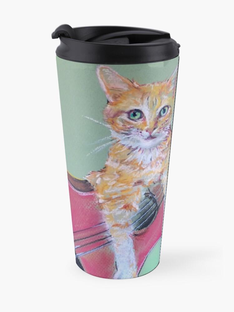 Alternate view of Ginger Cat & with Guitar Travel Mug