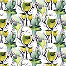 Seamless Pattern Tropical Exotic Plants in Bold Vibrant Green Colors by Nisuris