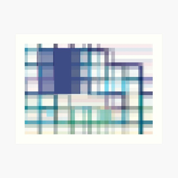 Blue, Green, and Purple Linear Dodge Abstract by Jenny Meehan  Art Print