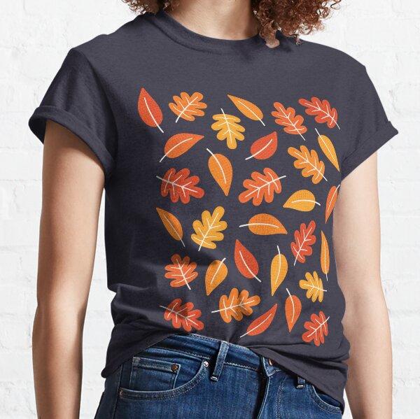 Retro Autumn Leaves on Indigo Blue Classic T-Shirt