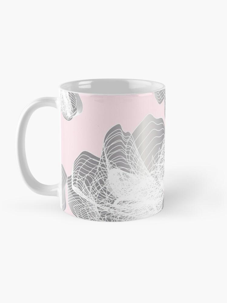 Alternate view of Feathery rose lotus pattern silver and blush pink Mug