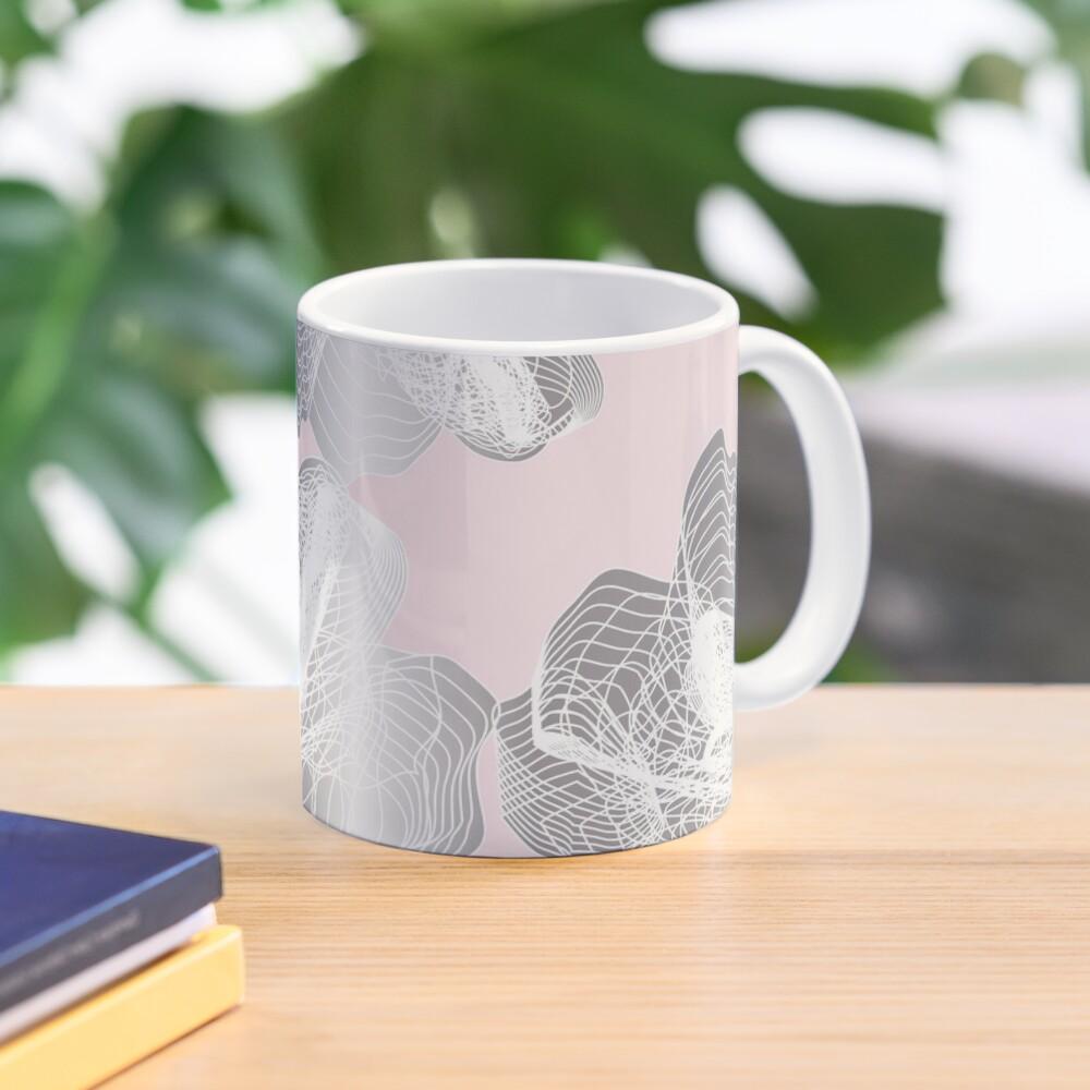Feathery rose lotus pattern silver and blush pink Mug
