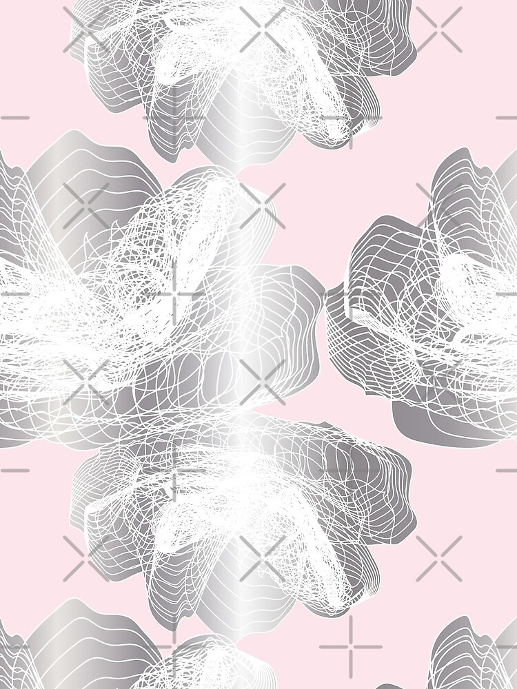 Feathery rose lotus pattern silver and blush pink by nobelbunt