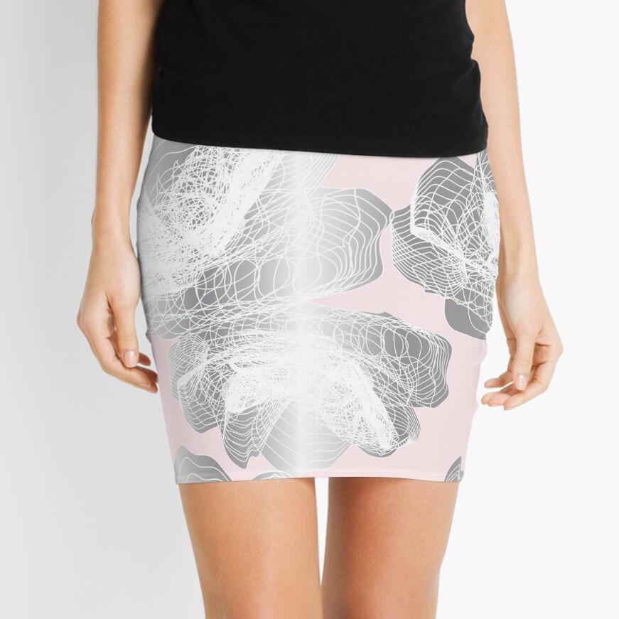 Feathery rose lotus pattern silver and blush pink Mini Skirt