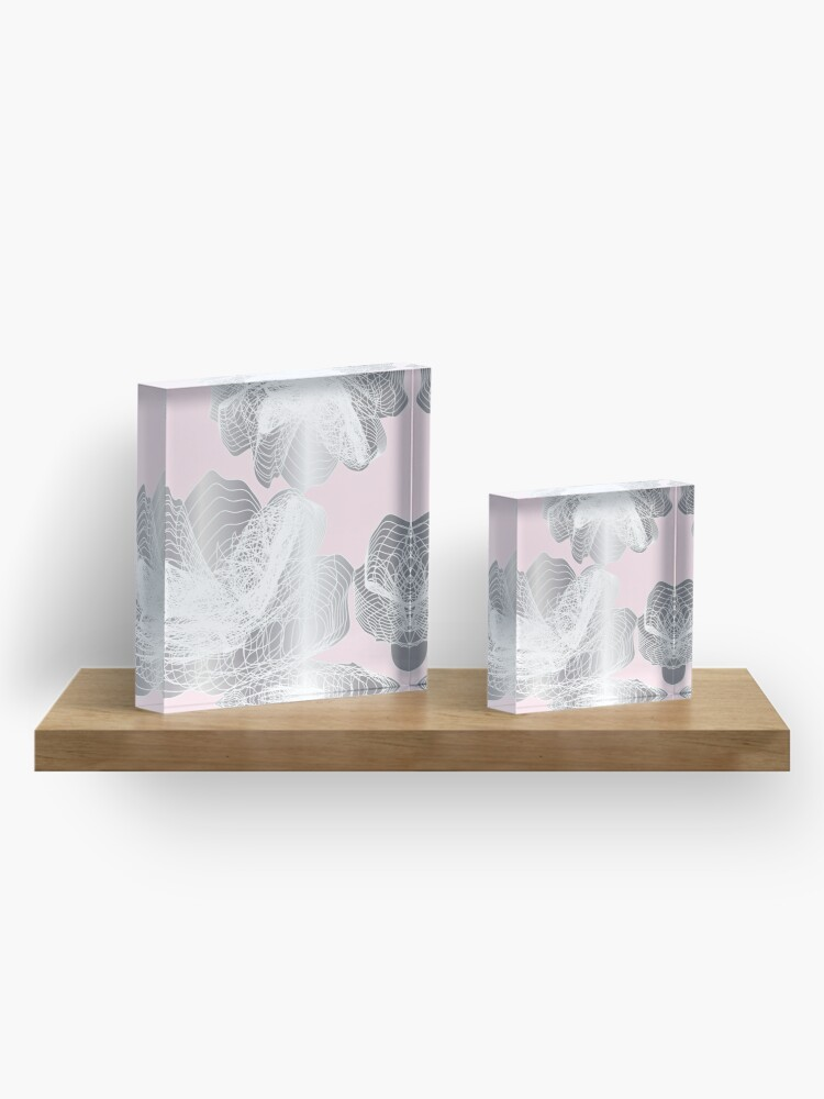 Alternate view of Feathery rose lotus pattern silver and blush pink Acrylic Block