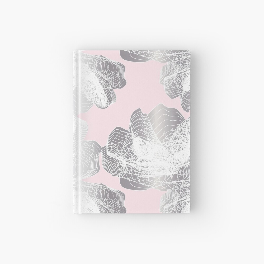 Feathery rose lotus pattern silver and blush pink Hardcover Journal