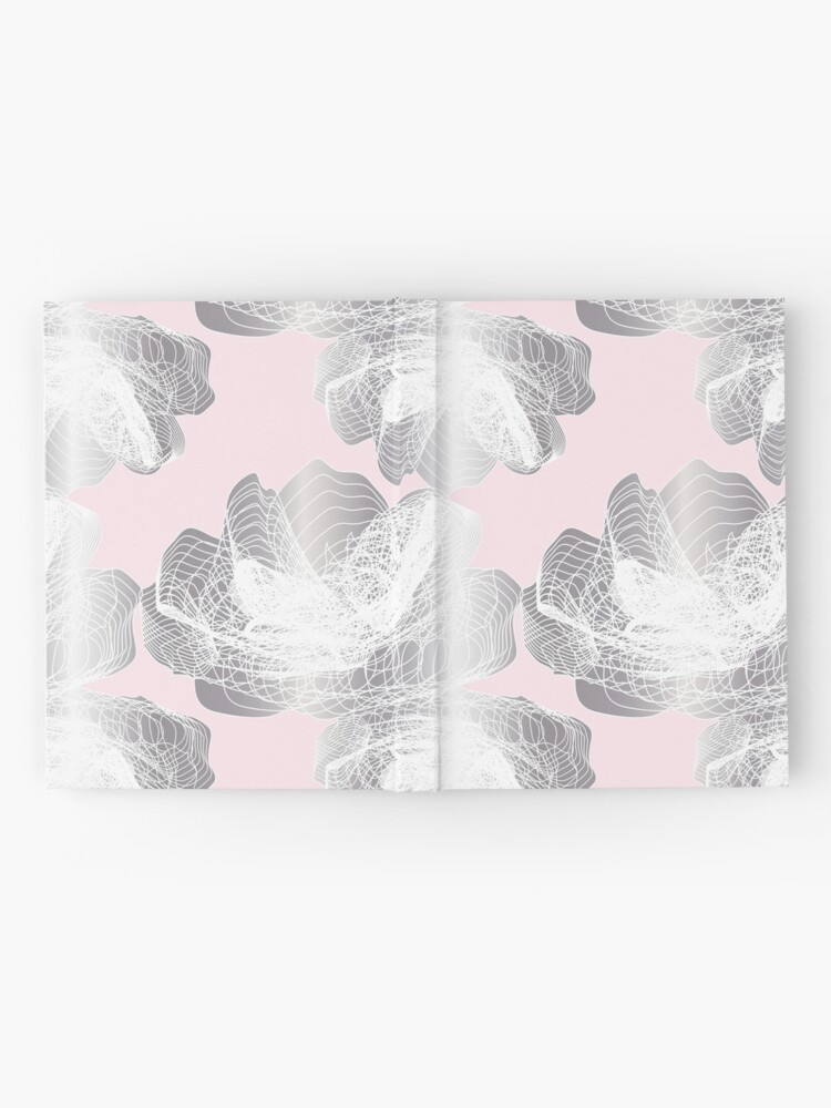 Alternate view of Feathery rose lotus pattern silver and blush pink Hardcover Journal