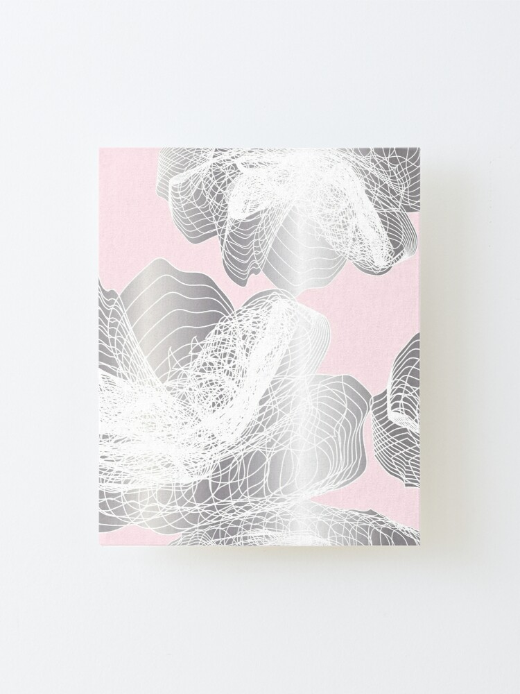 Alternate view of Feathery rose lotus pattern silver and blush pink Mounted Print
