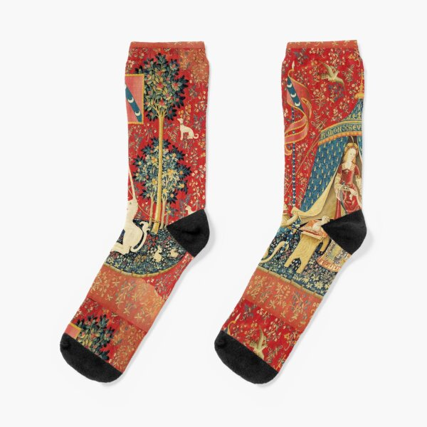 LADY AND UNICORN DESIRE ,Lion,Fantasy Flowers,Animals,Red Green Floral Socks