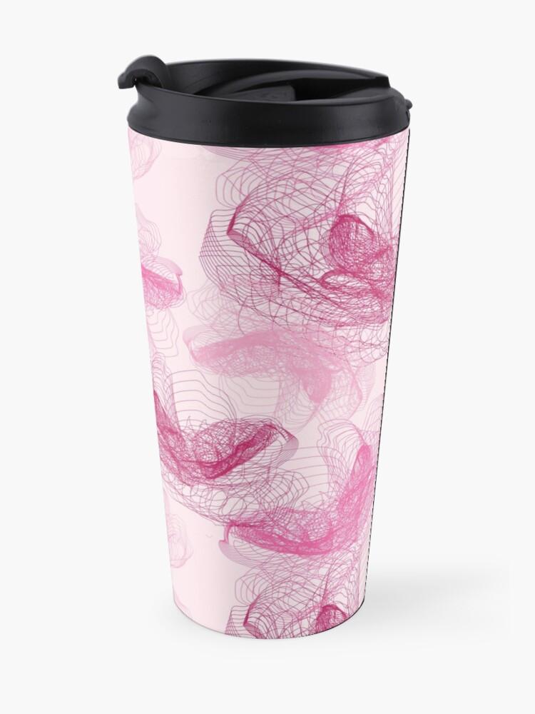 Alternate view of Feathery rose lotus pattern dark and blush pink Travel Mug