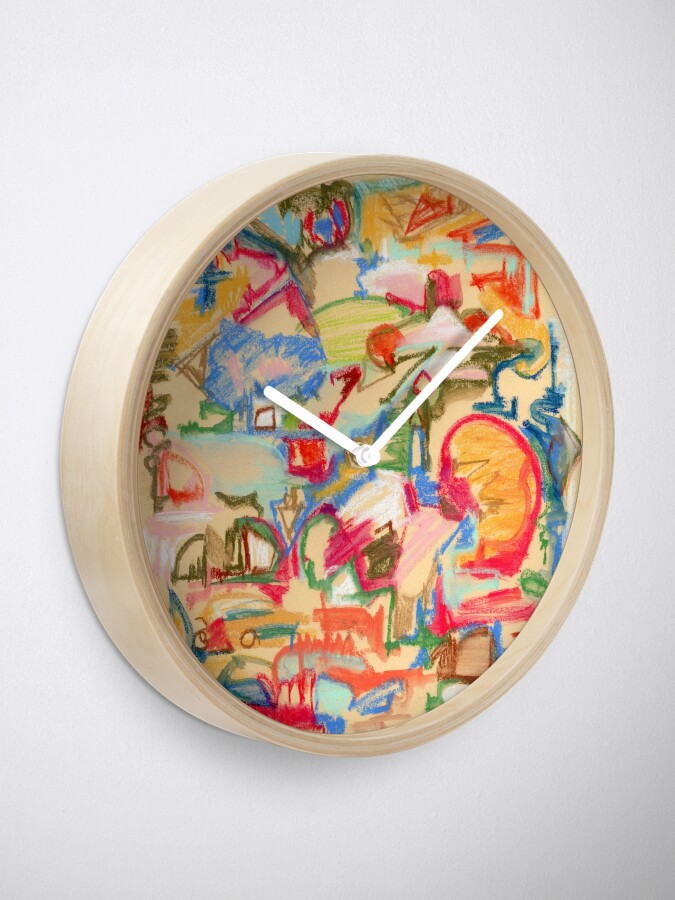 Alternate view of Scattered. Abstract expressionist pastel painting with straw background. By Pamela Parsons Clock