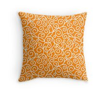 Orange Swirl Pattern Throw Pillow