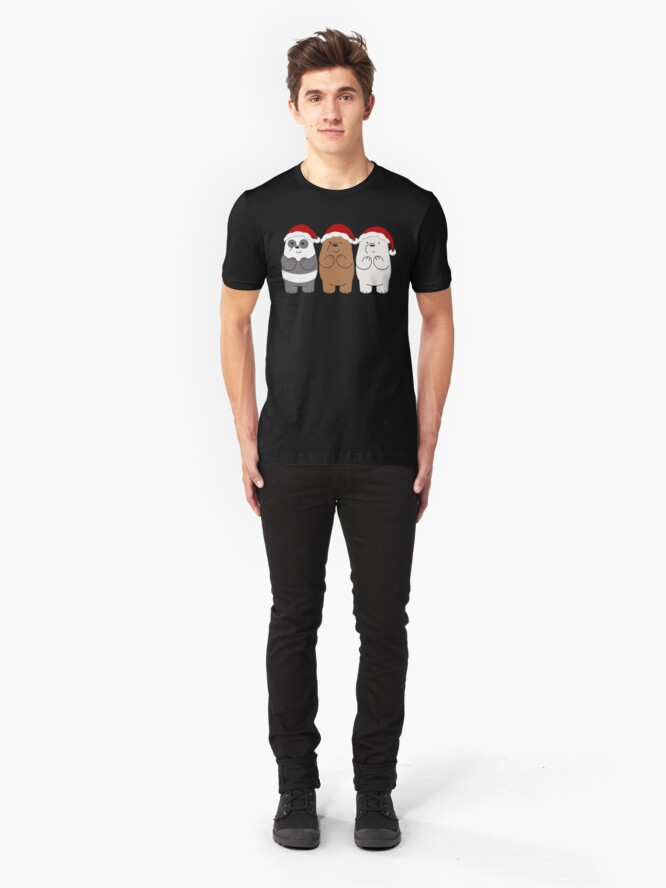Alternate view of We Bare Bears Xmas Slim Fit T-Shirt