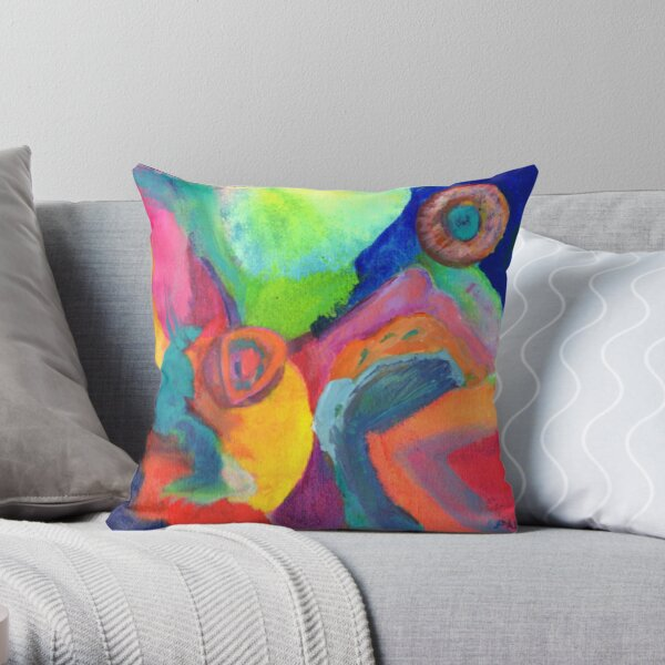 Cat Looking at the Moon. From abstract expressionist painting by Pamela Parsons. Throw Pillow