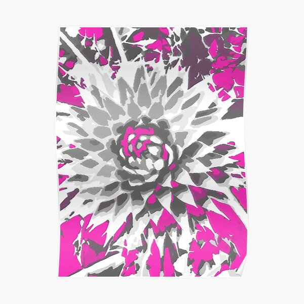 Thistle in fuchsia pink and gray Poster