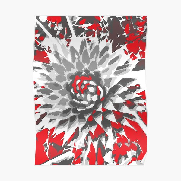 Thistle in red, gray and white Poster