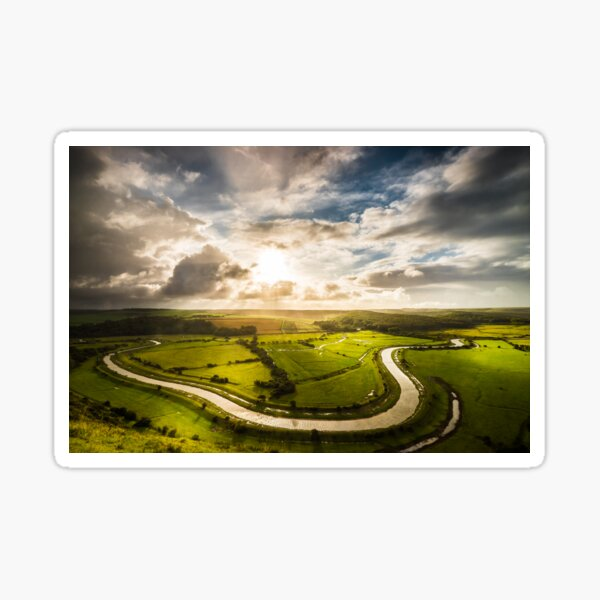 View over River Cuckmere from High and Over Sticker