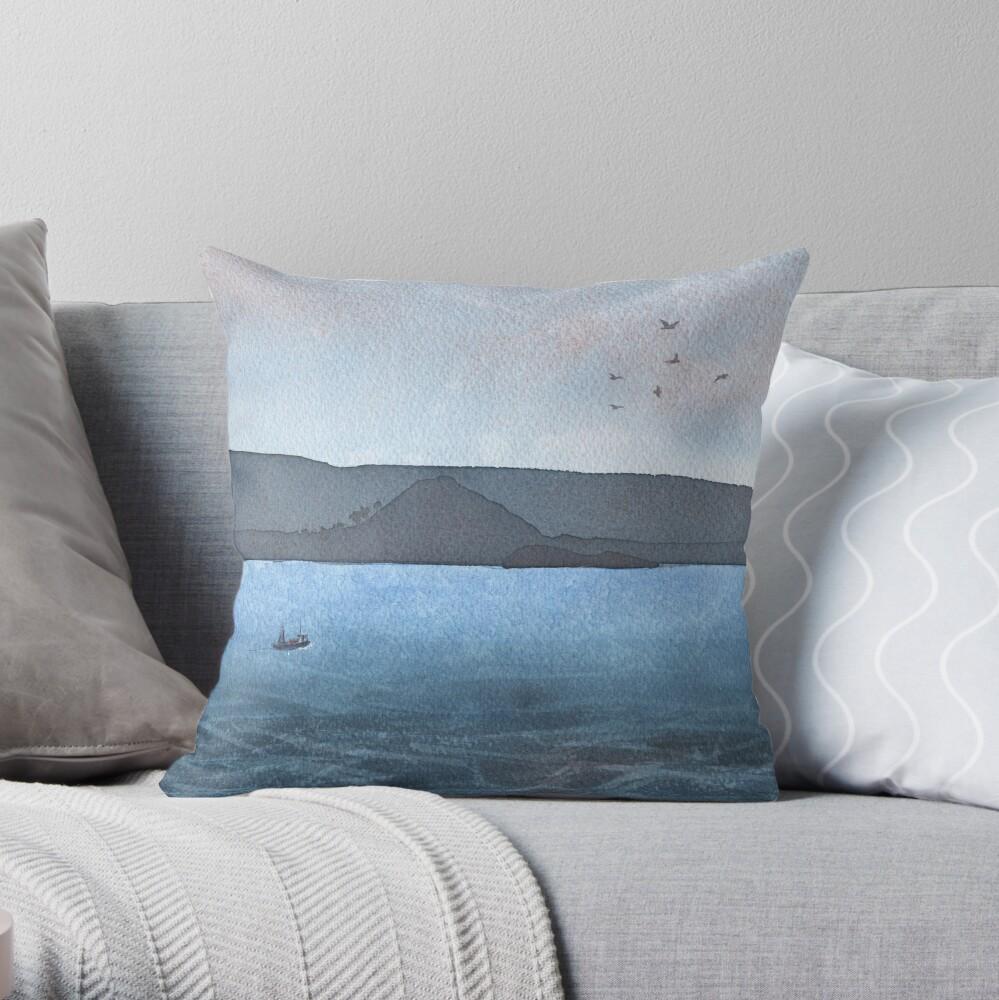Berwick Law and Craig Leith, November 2018 Throw Pillow